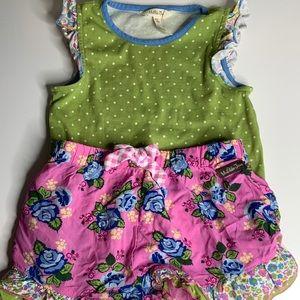 Matilda Jane Shirt Floral Print Shorts Ruffled 8